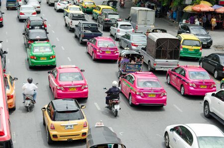 BANGKOK - AUGUST 1: Daily traffic jam in the afternoon on August 1, 2014 in Bangkok, Thailand.