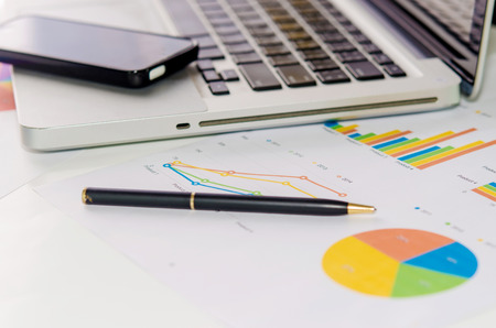 financial data: Business of financial analytics desktop with accounting charts and diagrams