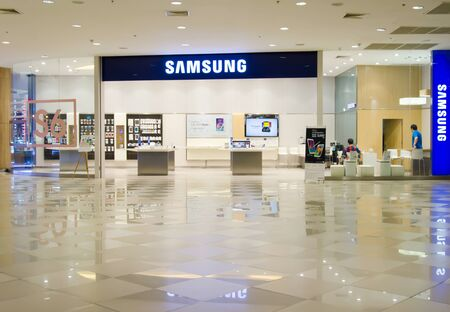 SAMUT PRAKAN, THAILAND  - APRIL 5, 2015 People shop at Samsung mobile shop at Mega Bangna. It is a South Korean multinational conglomerate company. Editorial
