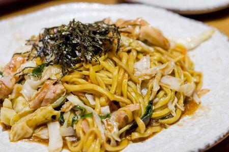 yakisoba: Yakisoba Japanese food on dish. Stock Photo