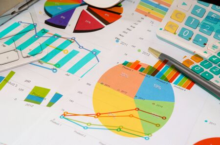 banking information: business documents with charts growth. workplace businessman