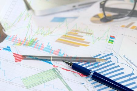 financial and business color charts and graphs on the table.business concept Stock Photo