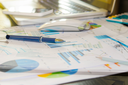 cluttered: Desk cluttered with business documents