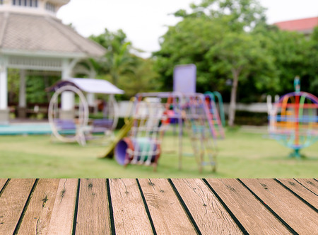 Wood top Blurred playground background. product display template.