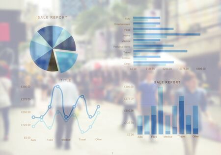 Financial paper charts and graphs.Blur people background
