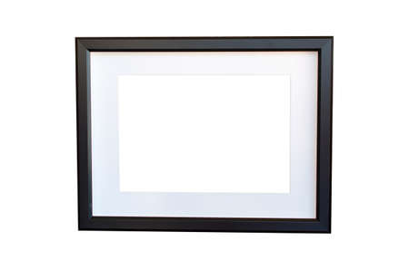 black picture frame: blank black picture frame on the white interior background