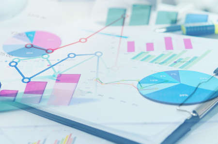 stock market graph: Financial graphs analysis and pencile.Business Concept Stock Photo