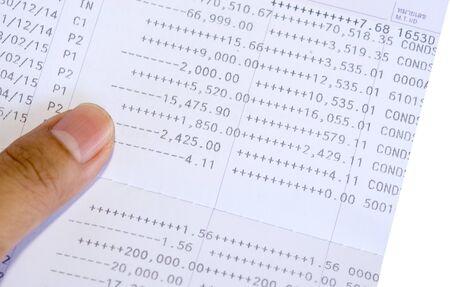 Close up bank statement, passbook