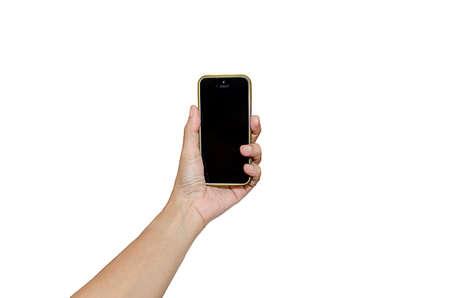 holding: Hand holding smart phone isolated on white background Stock Photo