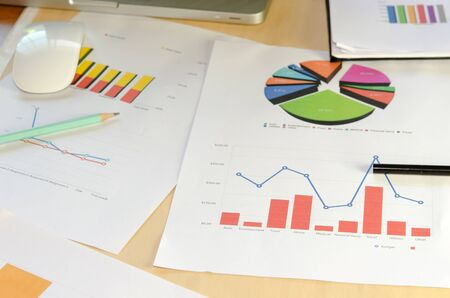 business research: colorful graphs, charts, marketing research and business annual report background