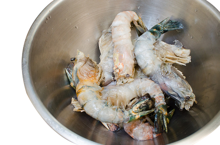 macrobrachium: Peeled River Prawns in a bowl Stock Photo
