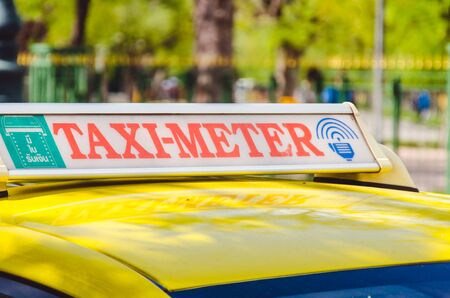 yellow taxi: Signs metered taxi  thailand. Stock Photo