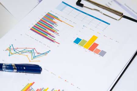 financial reports: paper documents with financial reports Stock Photo