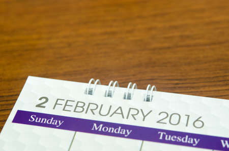 Close up calendar of February 2016 on table. Stock Photo