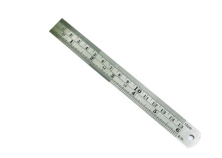 steel ruler on the white background.