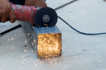 cutting metal: Cutting metal grinder close up Stock Photo