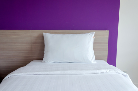 pillows on a bed Comfortable soft pillows on the bed Stock Photo