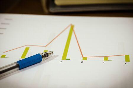 Graphs and pen on th desk.filter vintage