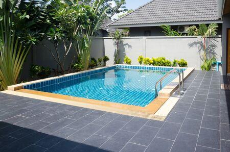 Swimming pool beautiful in tropical resort Stock Photo