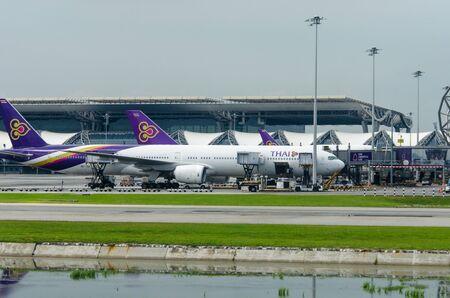hubs: BANGKOK, THAILAND -09 SEPTEMBER 2016 - Thai Airways flights at Suvarnabhumi International Airport is the main airport of the country.