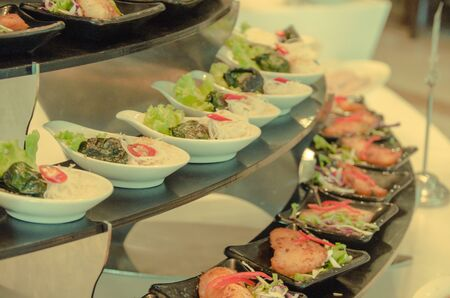 Buffet food, choice in a restaurant luxury hotels