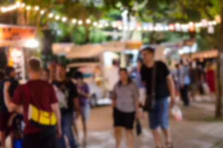 Abstract blurred  food truck festival - vintage tone ,as background. Stock Photo