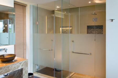 Modern interior bathroom shower