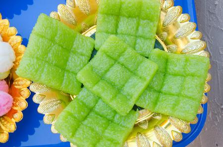 thai dessert on table.Dessert for colorful wedding ceremony Thai culture.