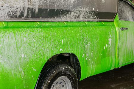 Car wash with foam in car wash