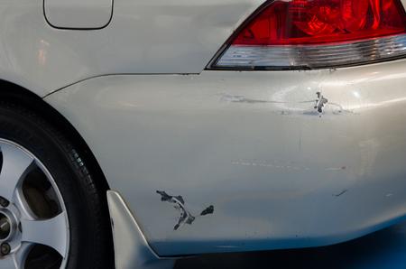 Rear bumper accident damaged car