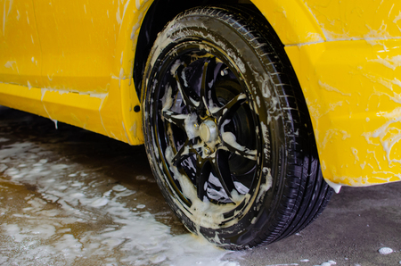 Car wash with foam in car wash
