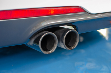 Close-up car exhaust pipe