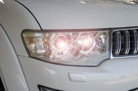 Modern Car exterior details.Headlight of a modern sport car