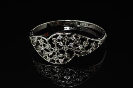 Women's fashion Bracelet jewelry on black background. Stok Fotoğraf