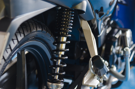 Black motorcycle shock absorbers