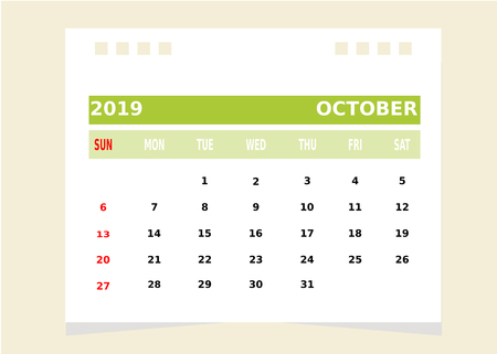 Calendar Month october 2019 Vector.