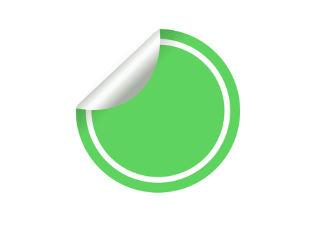 Blank green circle sticker on a white background vector.
