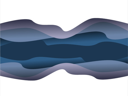 Vector design abstract background with blue paper cut waves.