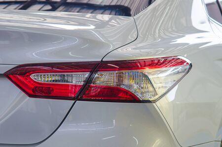 Modern luxury white car tail light.