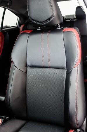 Leather car seat. Car interior details