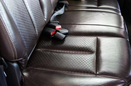 Brown leather car seat, modern luxury car interior