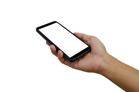 Hand holding martphone black with blank screen on the white background.