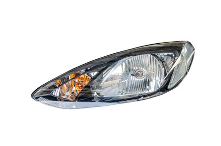 Car headlight isolated on the white background. Imagens
