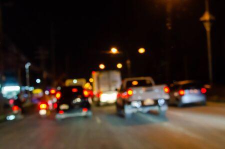 Sfocatura astratta di notte in auto e ingorgo Archivio Fotografico