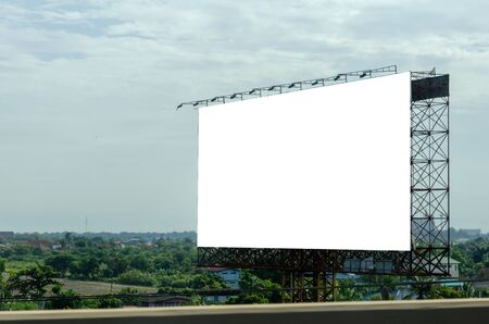 Blank billboard for advertising text or pictures on the road. Clipping path