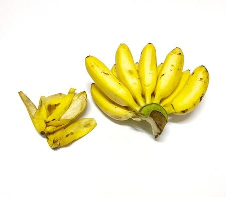 bright: Banana and skin white background Stock Photo