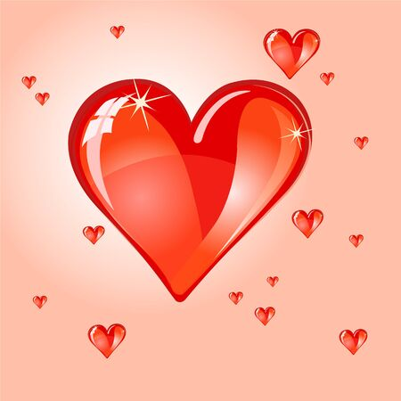 Vector illustration of shiny bubble heart  Design for original Valentines day card
