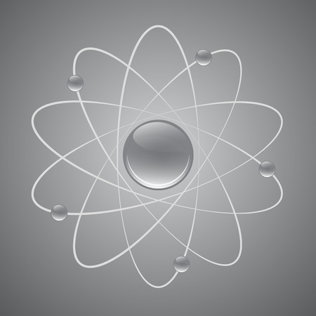 gray scale: 3D Atom structure gray Scale Vector EPS10 Illustration Illustration