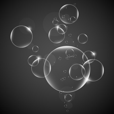 Water bubbles on a Gray background
