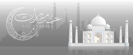 feter: Beautiful view of a mosque  on Gray background, concept for Islamic holy month of prayers, Ramadan Kareem ,Eid Mubarak celebrations.